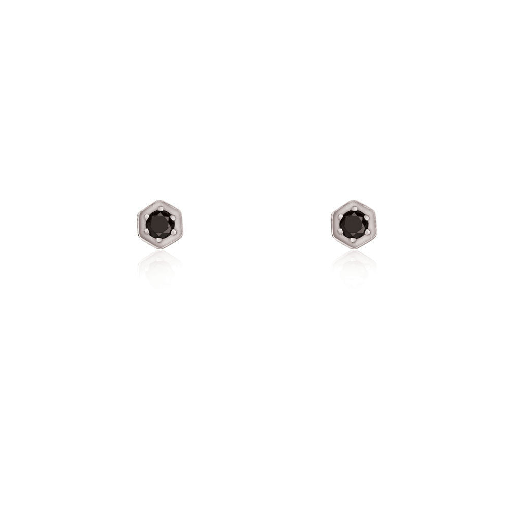 Black Diamond Hex Stud Earrings - 9k White Gold