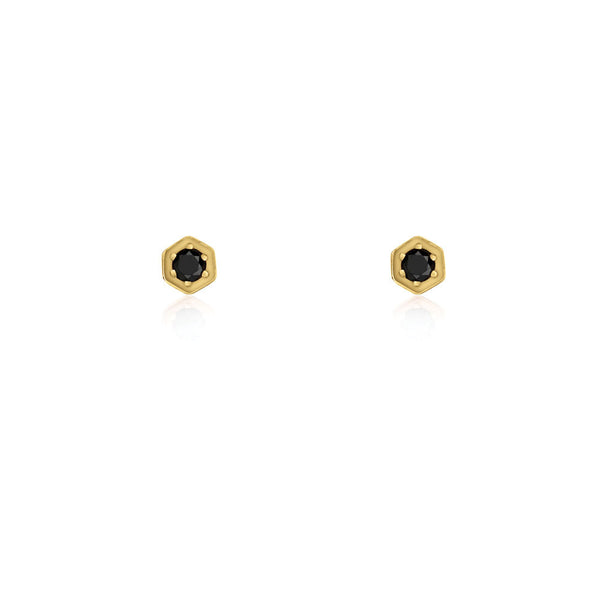 Black Diamond Hex Earrings - 9k Yellow Gold