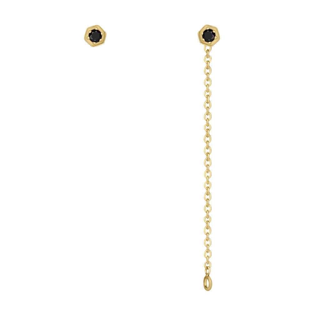 Black Diamond Hex Chain Earrings - 9k Yellow Gold