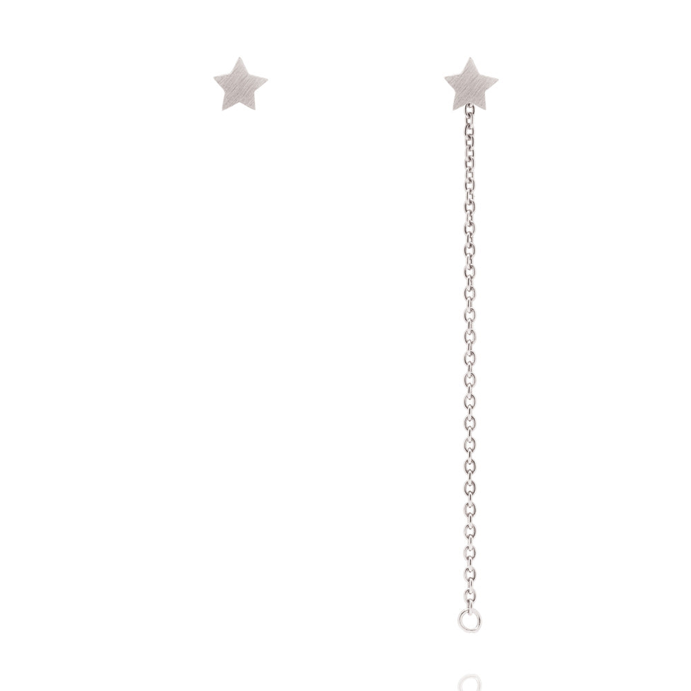 Star Stud Chain Earrings - Sterling Silver