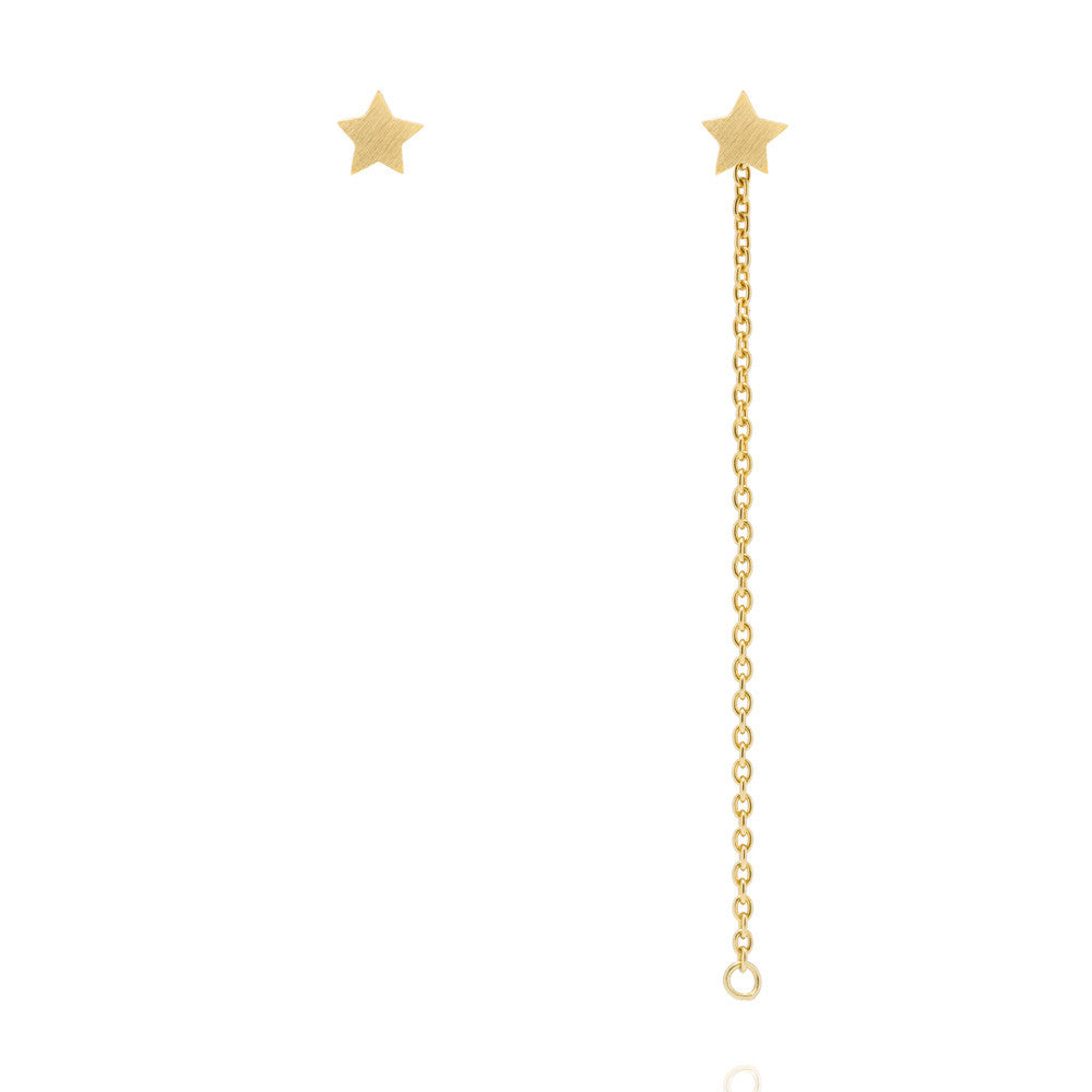 32d37d2bd3952 Star Stud Chain Earrings - Yellow Gold Plated Sterling Silver