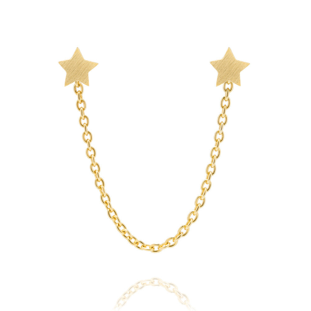 Star Stud Chain Earrings - Yellow Gold Plated Sterling Silver
