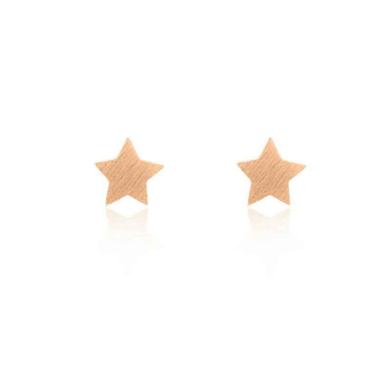 Star Stud Chain Earrings - Rose Gold Plated Sterling Silver