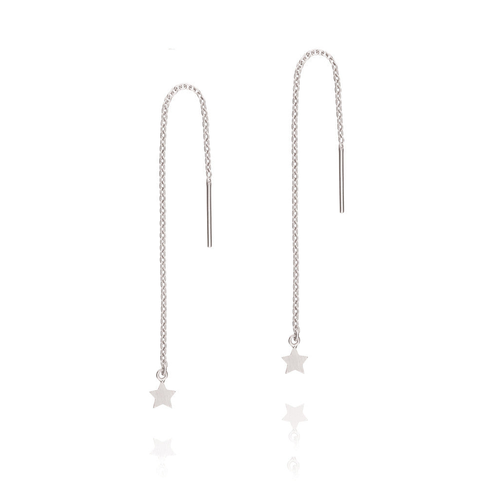 Tiny Star Thread Earrings - Sterling Silver