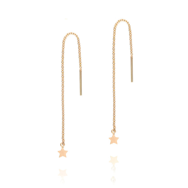 Tiny Star Thread Earrings - Rose Gold Plated Sterling Silver