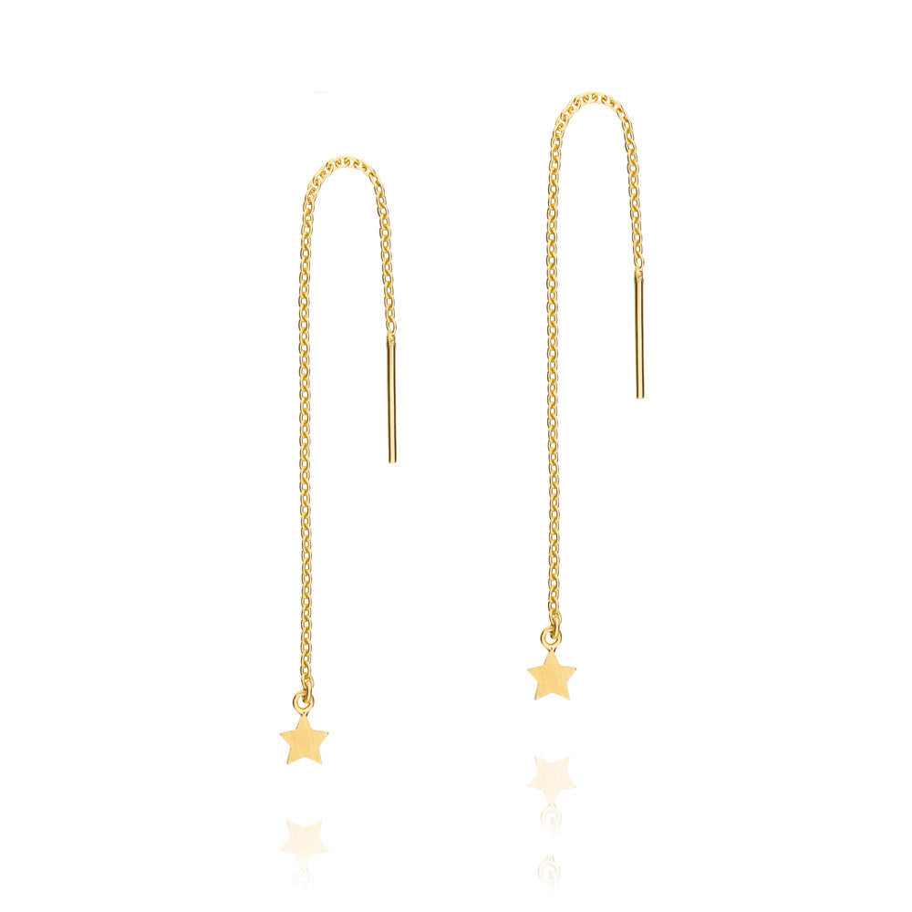 Tiny Star Thread Earrings - Yellow Gold Plated Sterling Silver