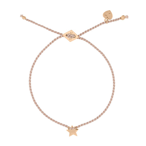 Tiny Star Silk Bracelet Blush - Rose Gold Plated Sterling Silver