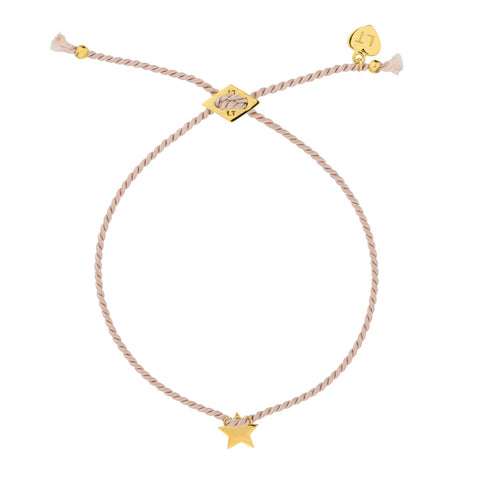 Tiny Star Silk Bracelet Blush - Yellow Gold Plated Sterling Silver