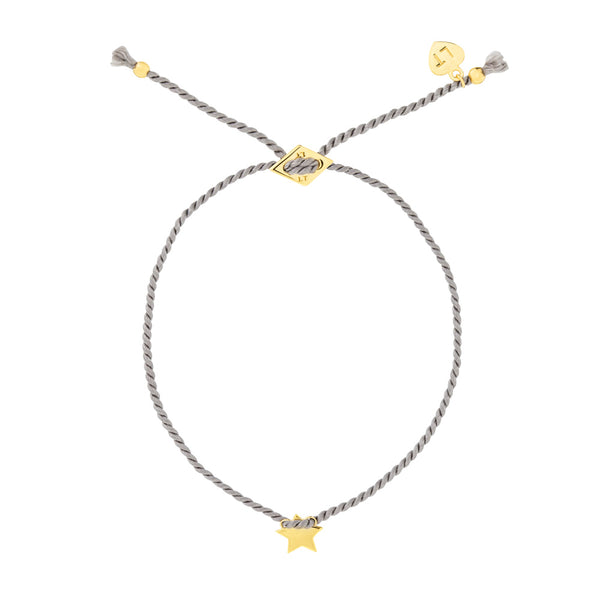 Tiny Star Silk Bracelet Grey - Yellow Gold Plated Sterling Silver