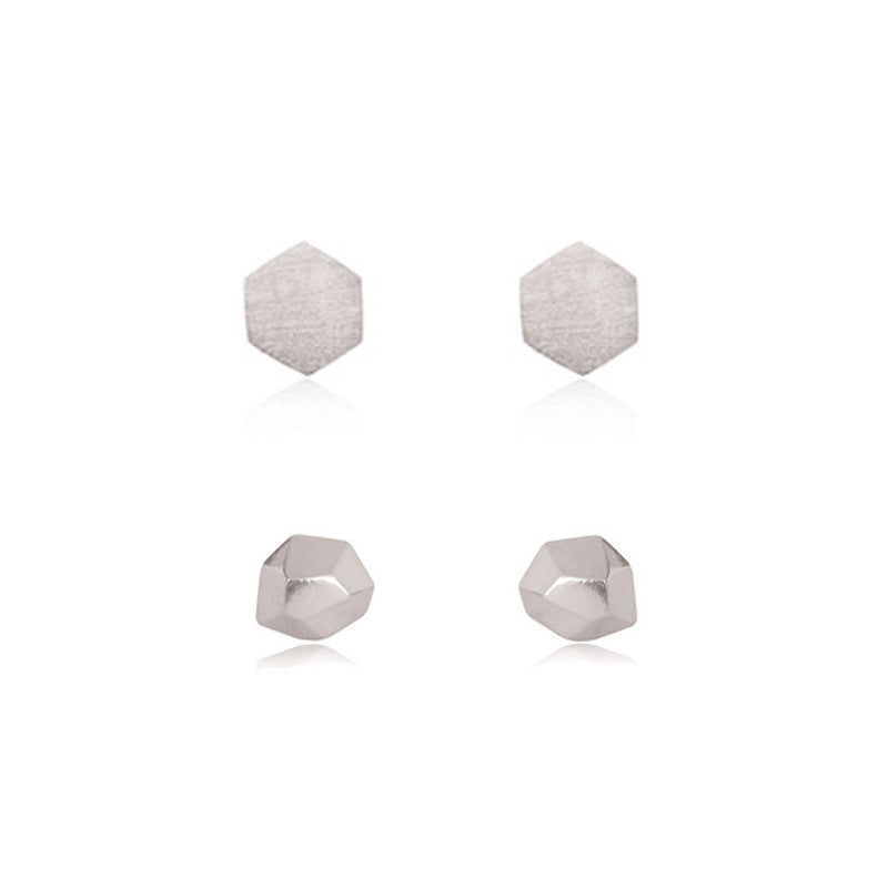 Hexagon Stud & Faceted Stud Set - Sterling Silver