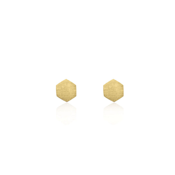 Hexagon Stud Earrings - Yellow Gold Plated Sterling Silver