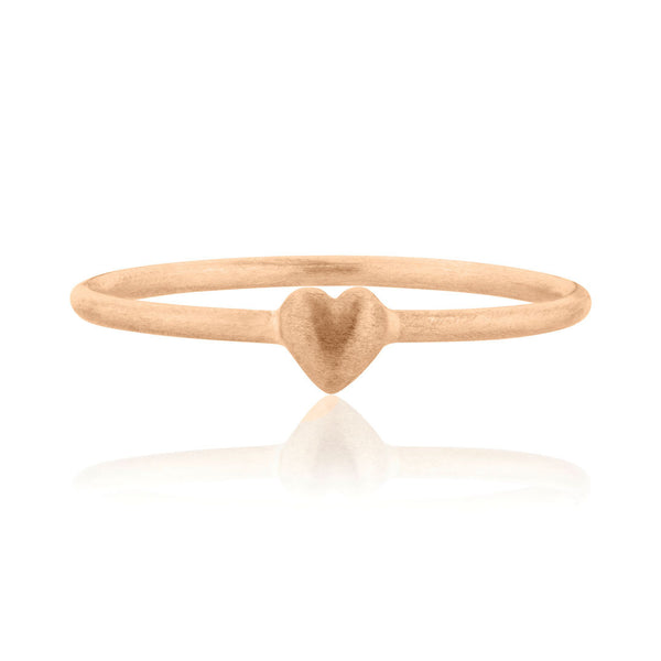 Tiny Heart Ring - 9k Rose Gold
