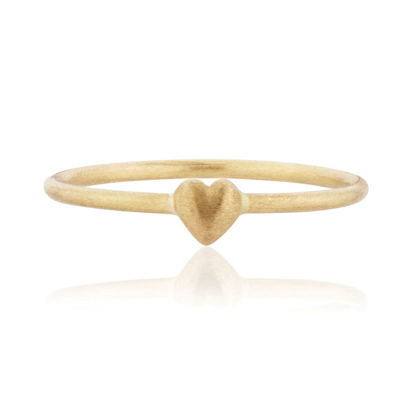 Tiny Heart Ring - 9k Yellow Gold