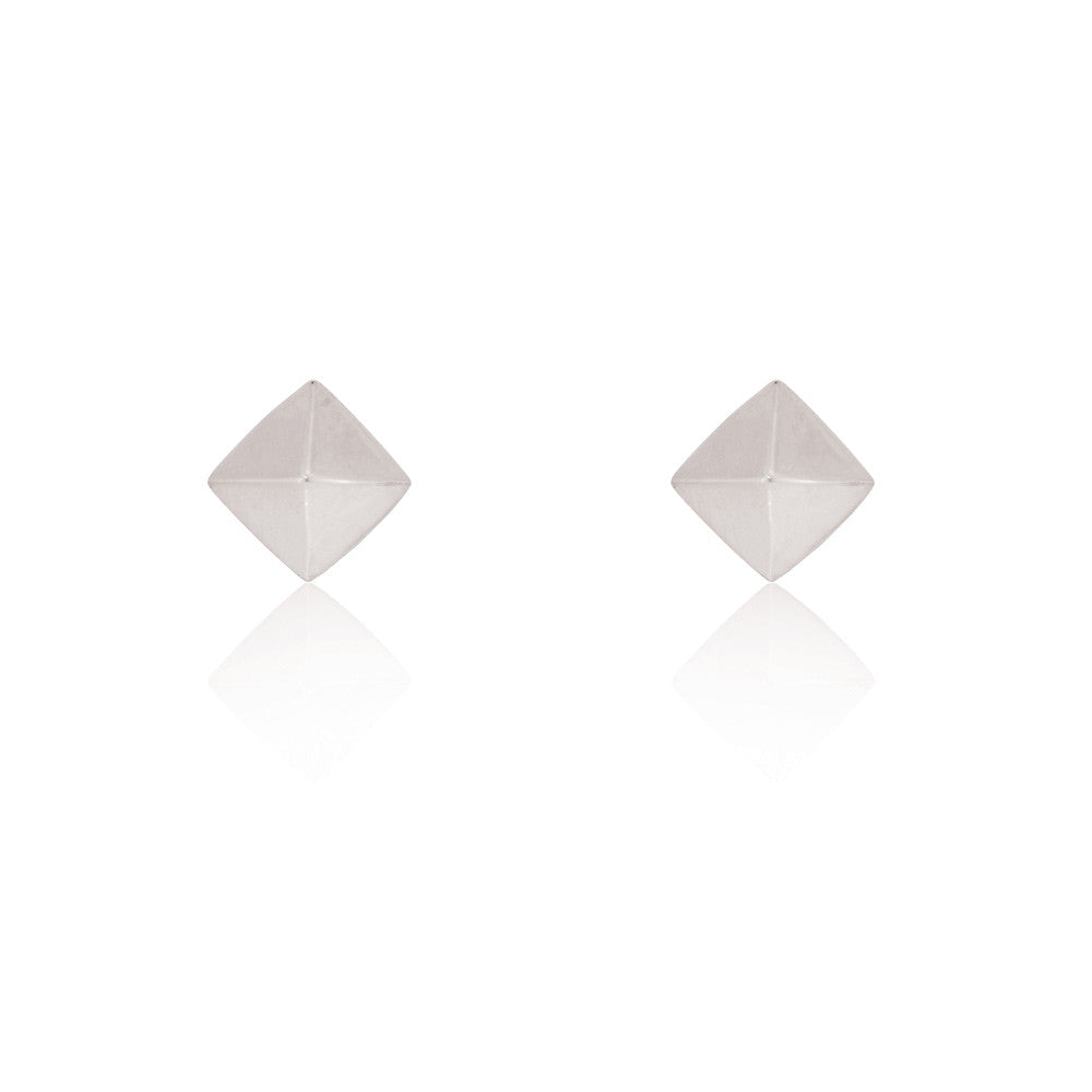 Pyramid Stud Chain Earrings - Sterling Silver