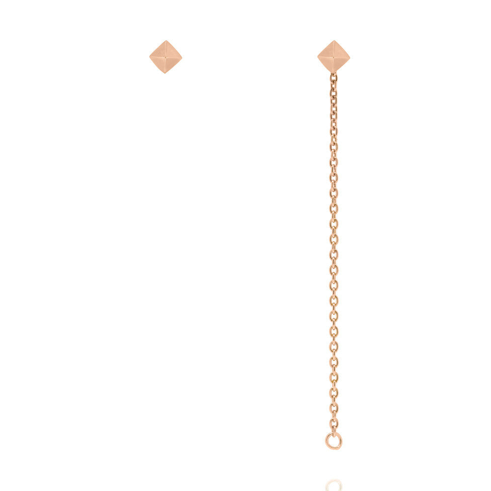 e61669ed9 Pyramid Stud Chain Earrings - Rose Gold Plated Sterling Silver – Linda  Tahija Jewellery