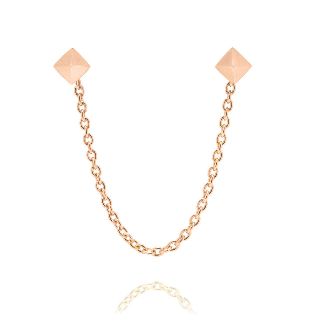 dc4fdde012c Pyramid Stud Chain Earrings - Rose Gold Plated Sterling Silver ...