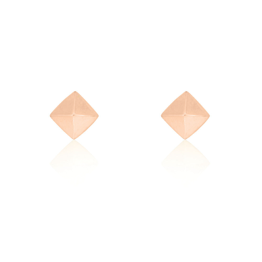 Pyramid Stud Chain Earrings - Rose Gold Plated Sterling Silver