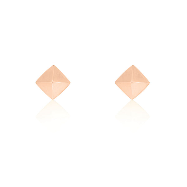 Pyramid Stud Earrings - Rose Gold Plated Sterling Silver