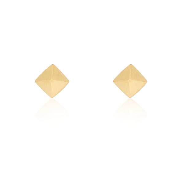 Pyramid Stud Earrings - Yellow Gold Plated Sterling Silver
