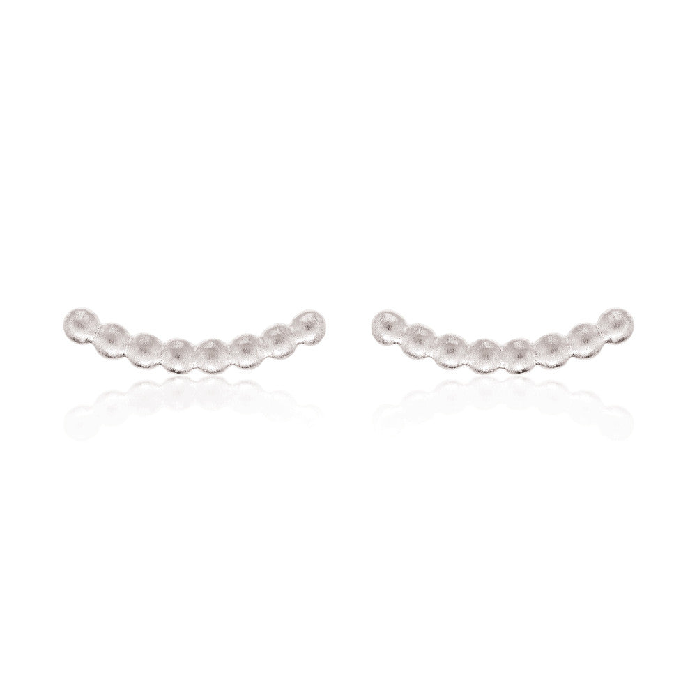 Beaded Bar Stud Earrings - Sterling Silver