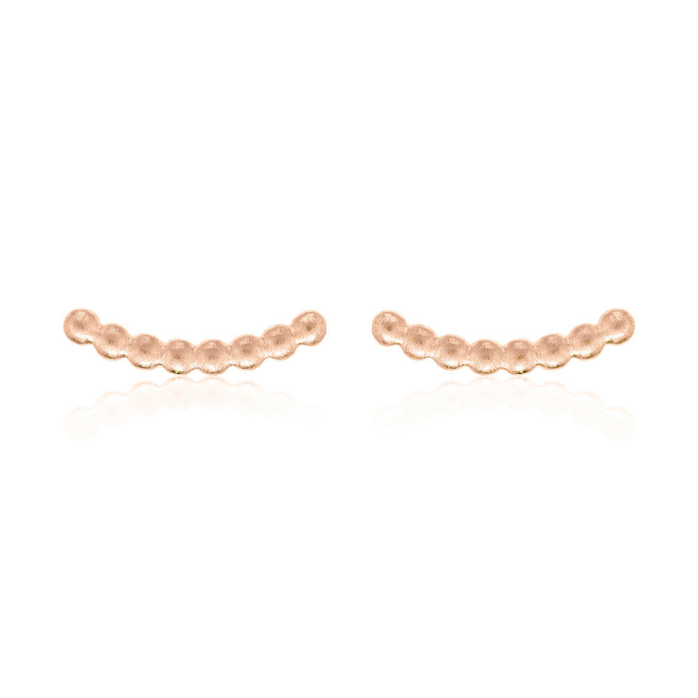 Beaded Bar Stud Earrings - Rose Gold Plated Sterling Silver
