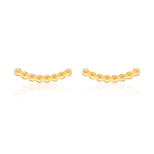 Beaded Bar Stud Earrings - Yellow Gold Plated Sterling Silver