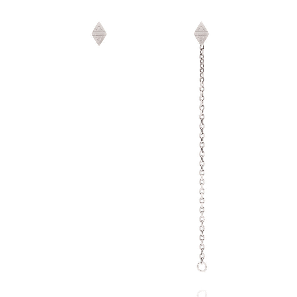 Rhombus Stud Chain Earrings - Sterling Silver