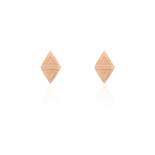 Rhombus Stud Chain Earrings - Rose Gold Plated Sterling Silver