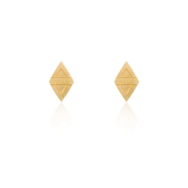 Rhombus Stud Chain Earrings - Yellow Gold Plated Sterling Silver