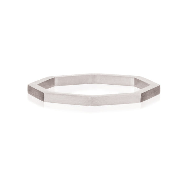 Octa Brushed Ring - Sterling Silver