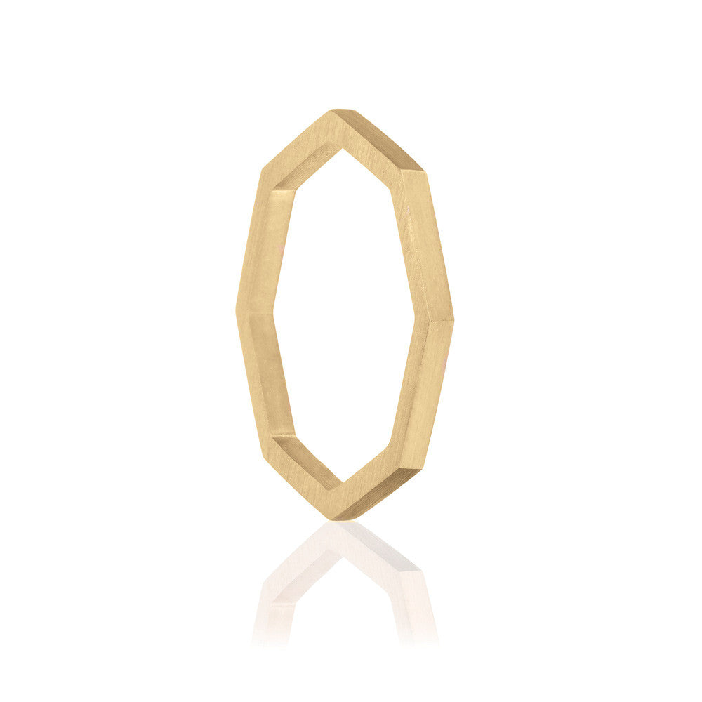 Octa Brushed Ring - Yellow Gold Vermeil Sterling Silver