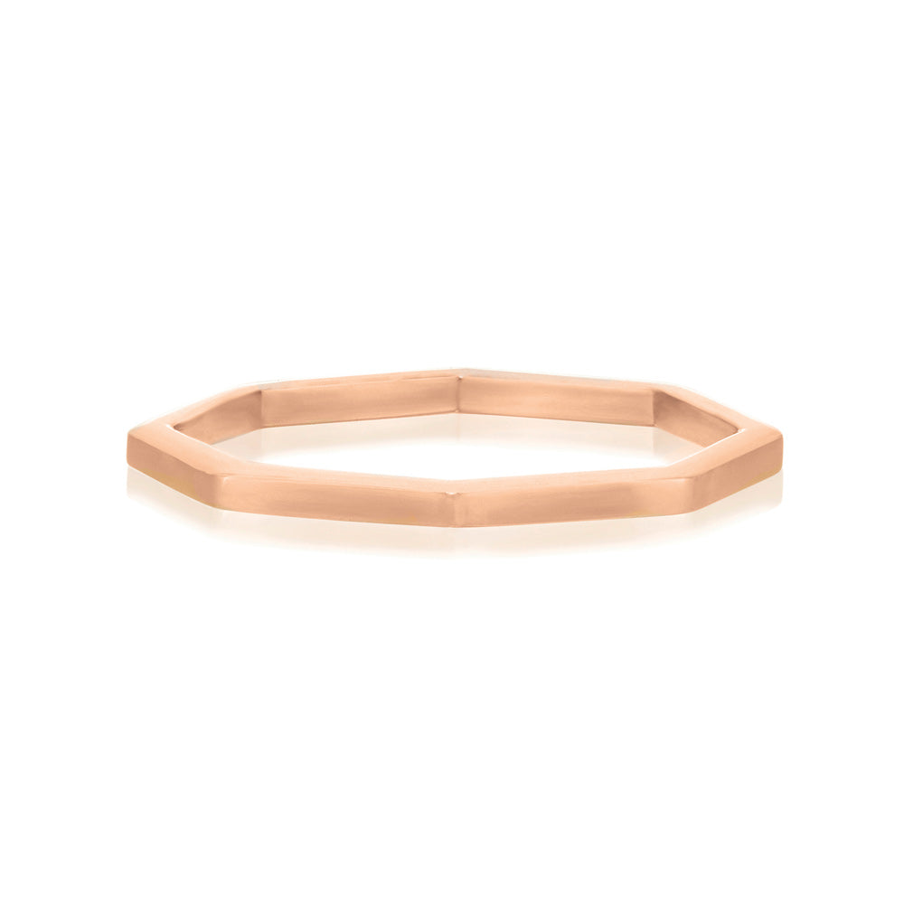 Octa Polished Ring - Rose Gold Vermeil Sterling Silver