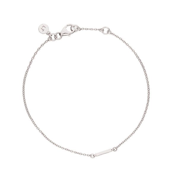 Polished Bar Bracelet - 9k White Gold