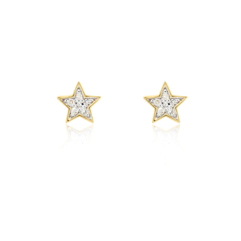 Diamond Star Stud Earrings - 9k Yellow Gold & Diamond
