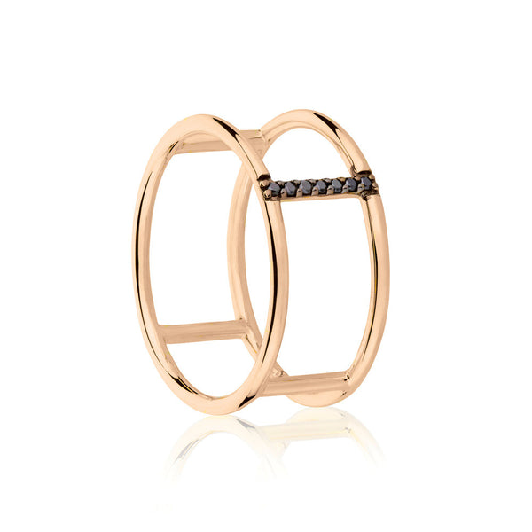 Seeker Black Diamond Ring - 9k Rose Gold