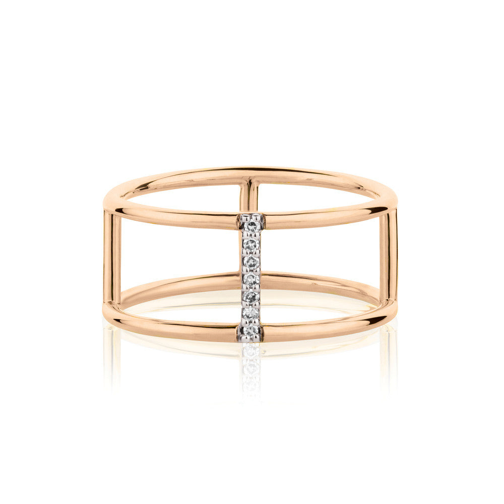 Seeker White Diamond Ring - 9k Rose Gold