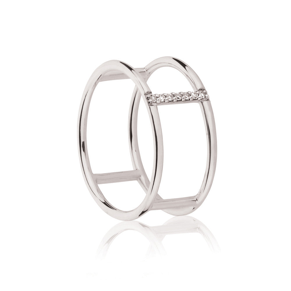 Seeker White Diamond Ring - 9k White Gold