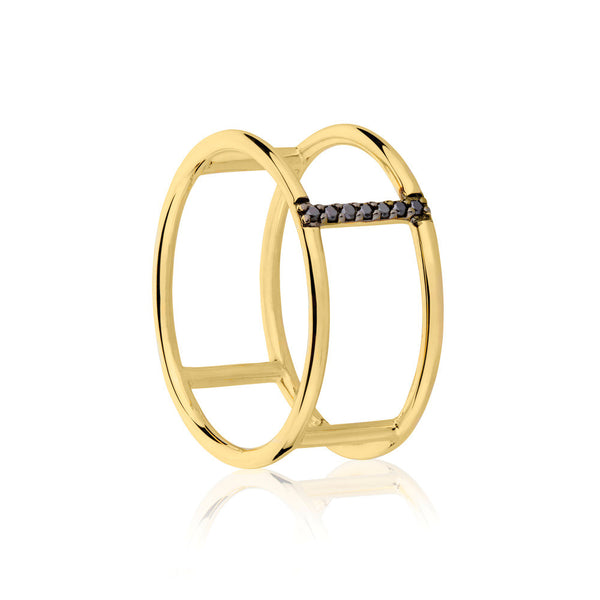 Seeker Black Diamond Ring - 9k Yellow Gold