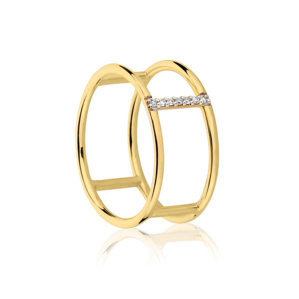 Seeker White Diamond Ring - 9k Yellow Gold