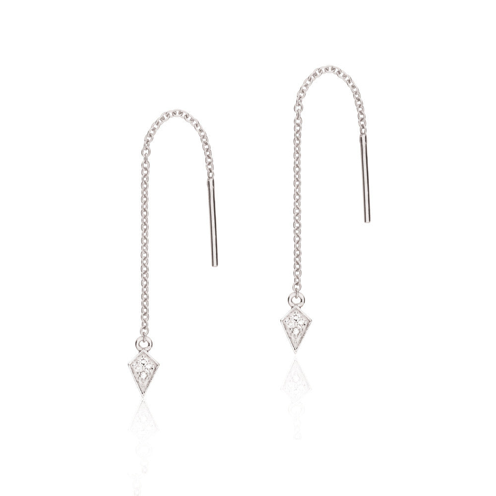 Diamond Kite Thread Earrings - 9k White Gold & Diamond