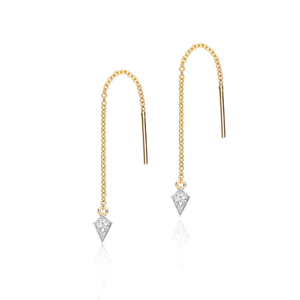 Diamond Kite Thread Earrings - 9k Yellow Gold & Diamond