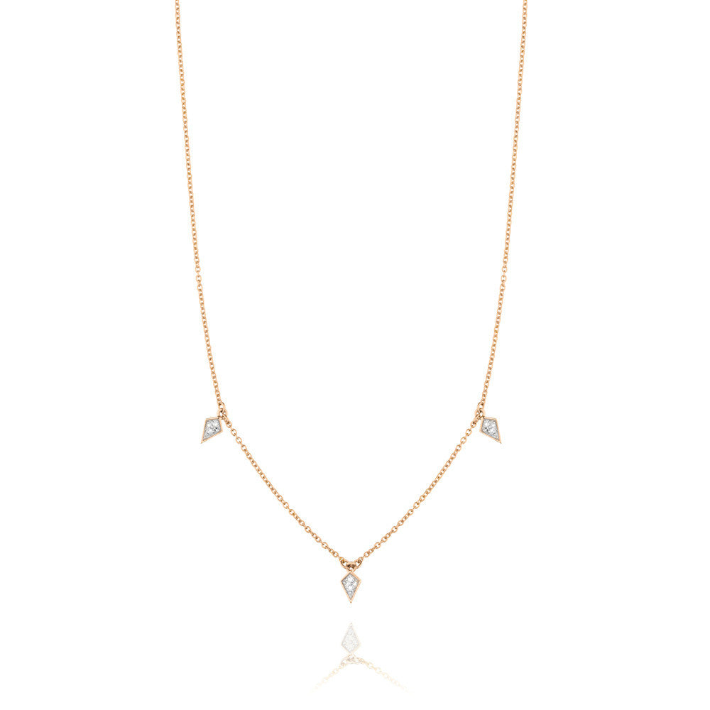 Diamond Kite Drop Necklace - 9k Rose Gold & Diamond