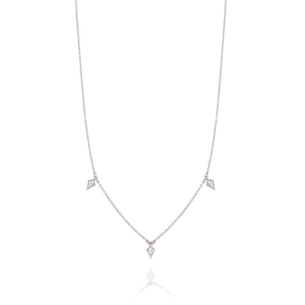 Diamond Kite Drop Necklace - 9k White Gold & Diamond