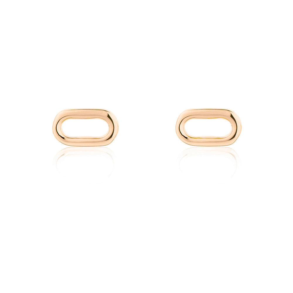 Oval Wire Stud Earrings - Rose Gold Plated Sterling Silver