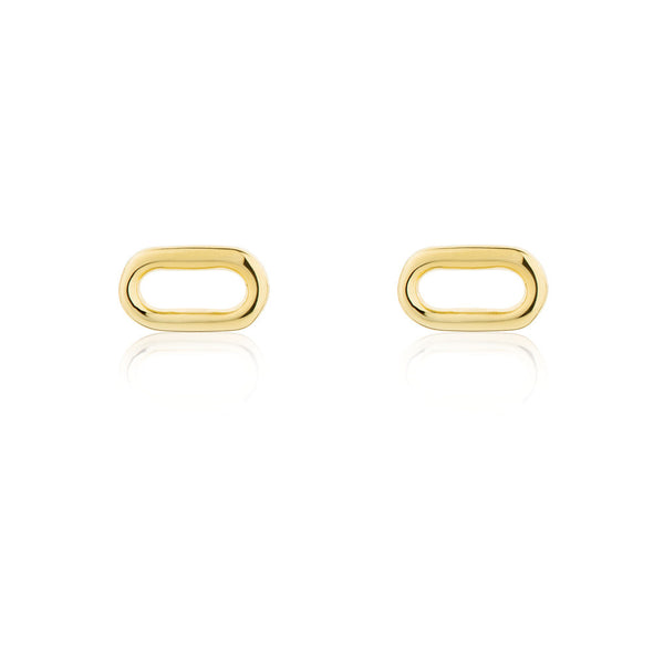 Oval Wire Stud Earrings - Yellow Gold Plated Sterling Silver