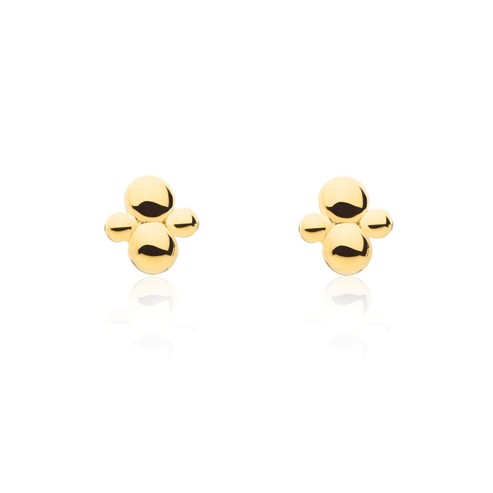 Cluster Stud Earrings - Yellow Gold Plated Sterling Silver