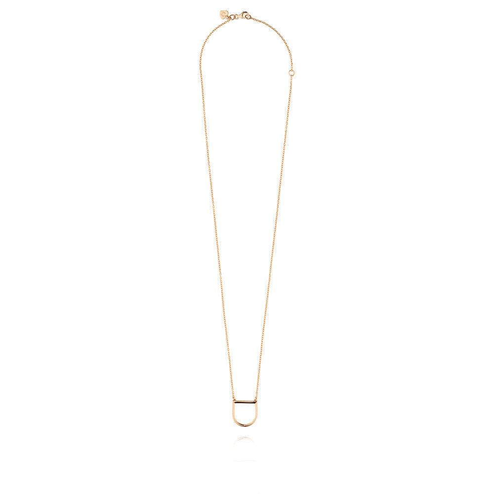 U Necklace - Rose Gold Plated Sterling Silver