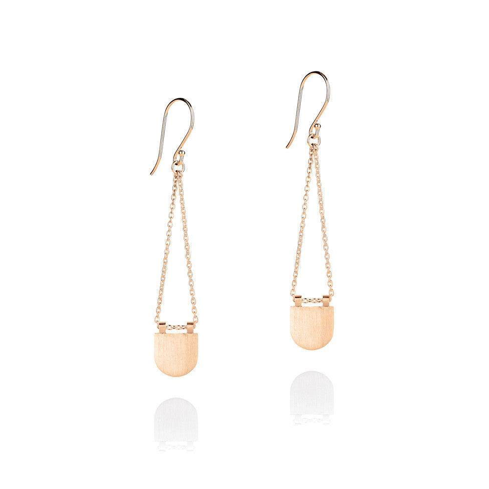 Eclipse Drop Earrings - Rose Gold Plated Sterling Silver