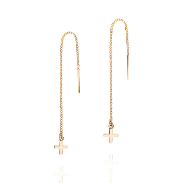 Cross Thread Earrings - Rose Gold Plated Sterling Silver