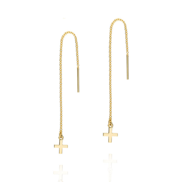 Cross Thread Earrings - Yellow Gold Plated Sterling Silver